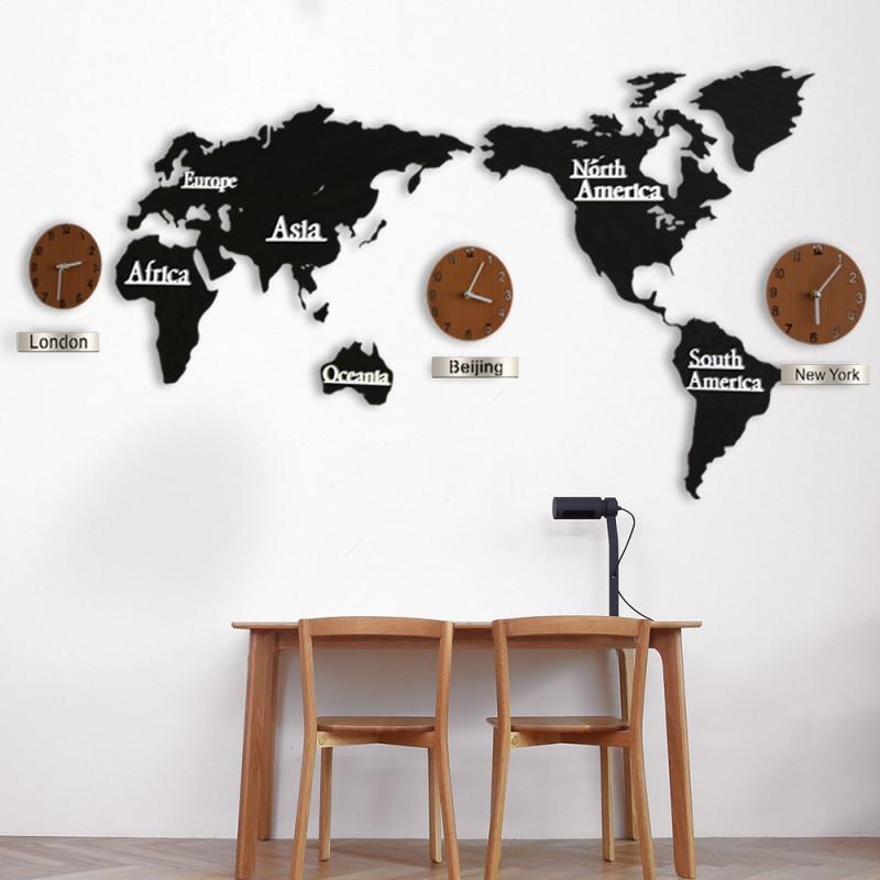 世界地图墙面装饰墙上钟表挂件客厅墙壁创意挂钟3d立体墙贴壁饰