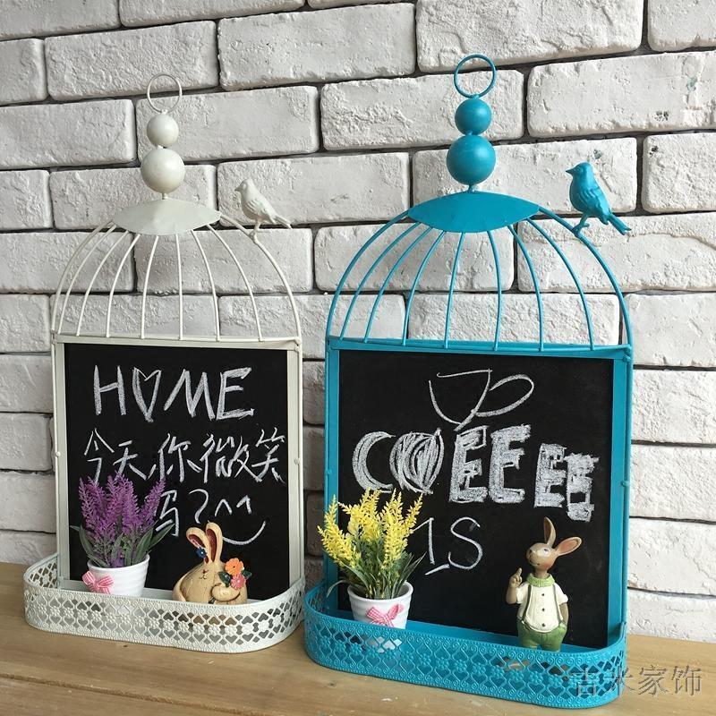 欧式铁艺鸟笼黑板壁挂墙饰壁饰咖啡馆服装店铺装饰收纳留言板