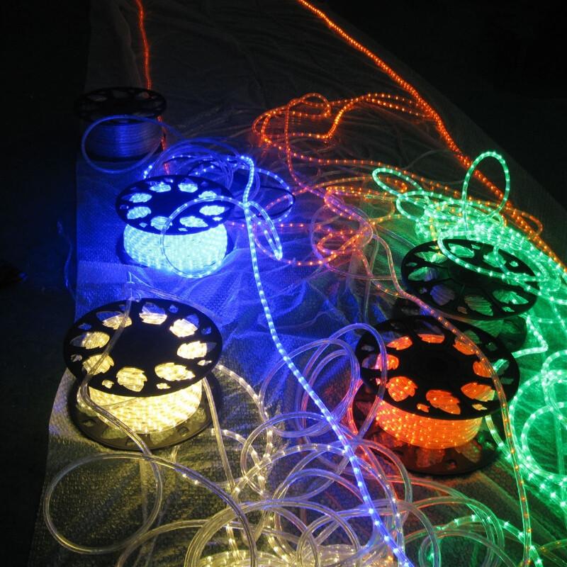led圆二线灯带彩虹管工程亮化四彩闪树灯软管霓虹灯户外防水招牌圆