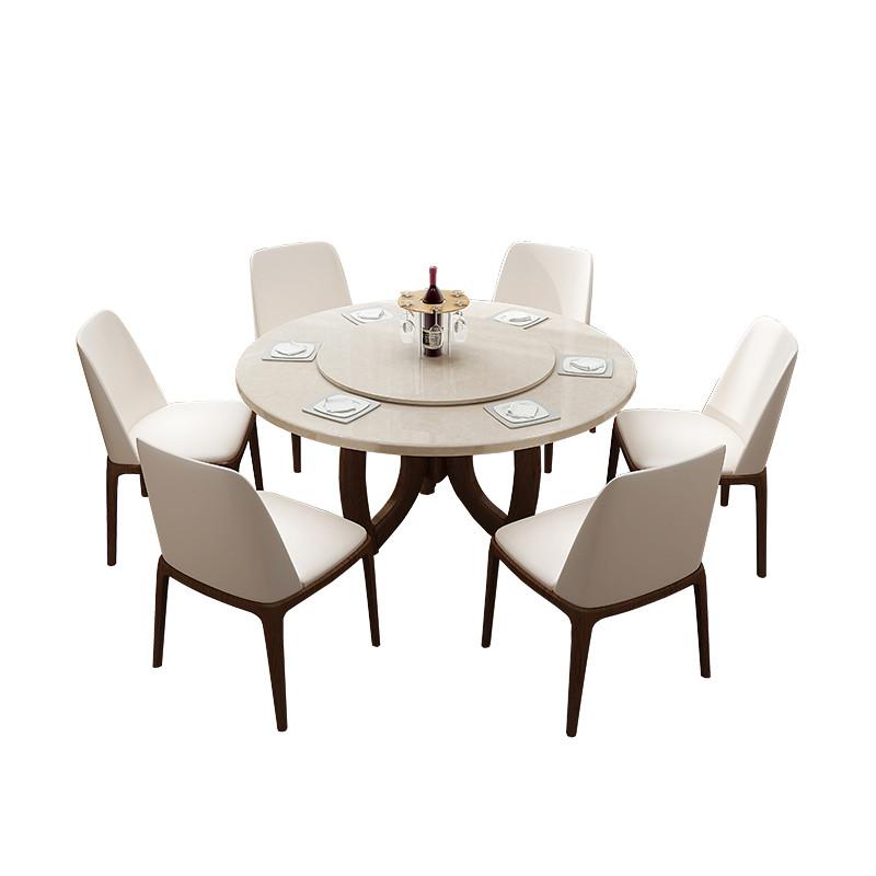 北欧实木餐桌椅组合大理石圆形餐桌简约现代小户型圆桌白蜡木饭桌