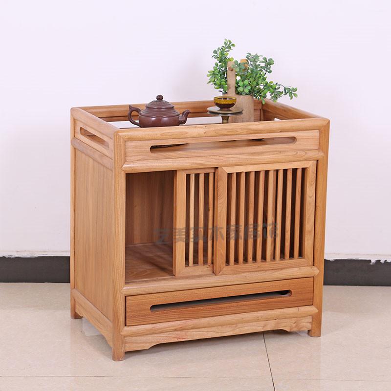 老榆木茶水柜免漆新中式餐边柜禅意实木简约现代客厅办公茶叶柜