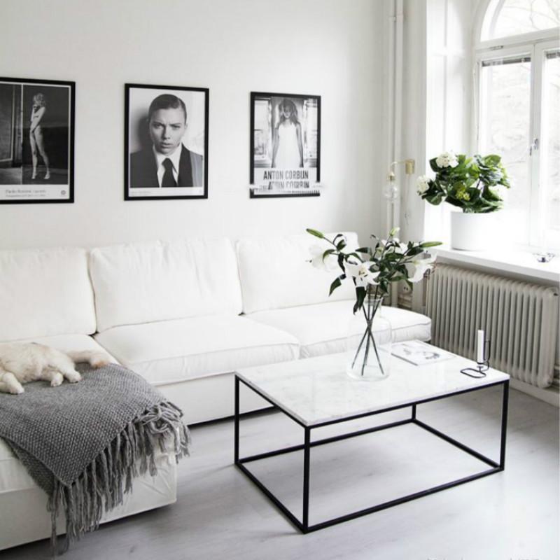 北欧大理石铁艺小户型家用客厅茶几现代简约办公室泡茶桌