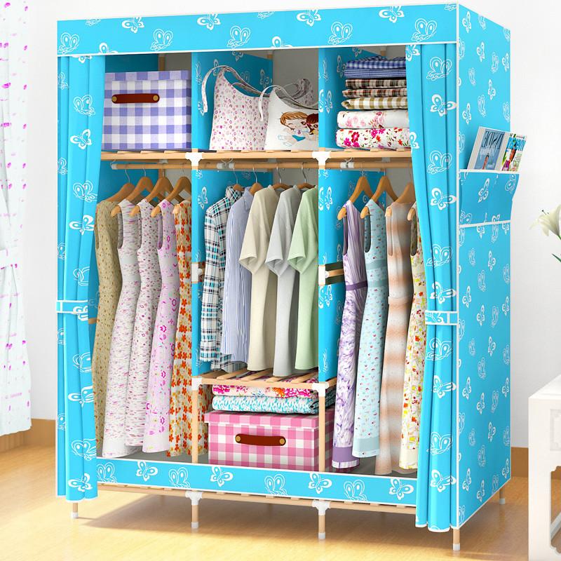 双人衣服收纳简易衣柜布艺实木折叠组装牛津布衣柜子简单儿童衣橱