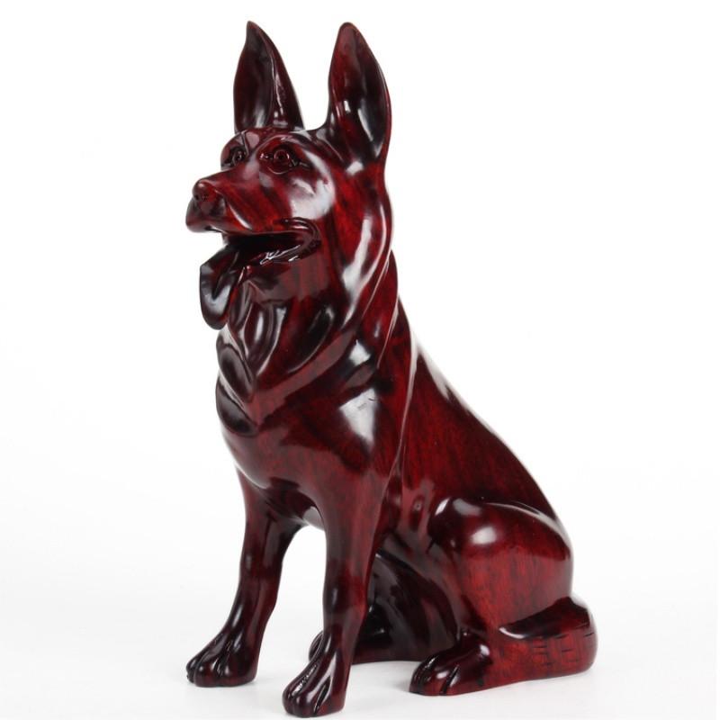 红木工艺品 东阳木雕刻12十二生肖狗风水摆件 实木质红狗装饰