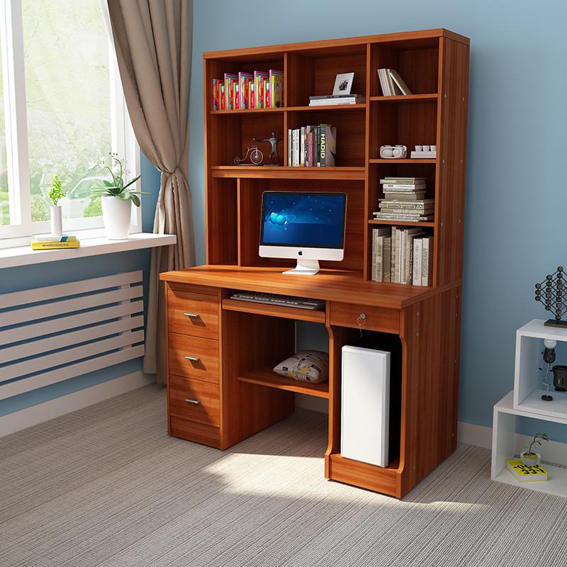 电脑桌台式家用学习桌卧室桌子书柜书桌一体书架组合学生写字桌图片