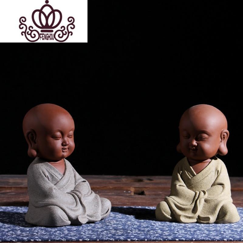 紫砂禅意小和尚摆件佛像可爱小沙弥陶瓷佛度六君子工艺品