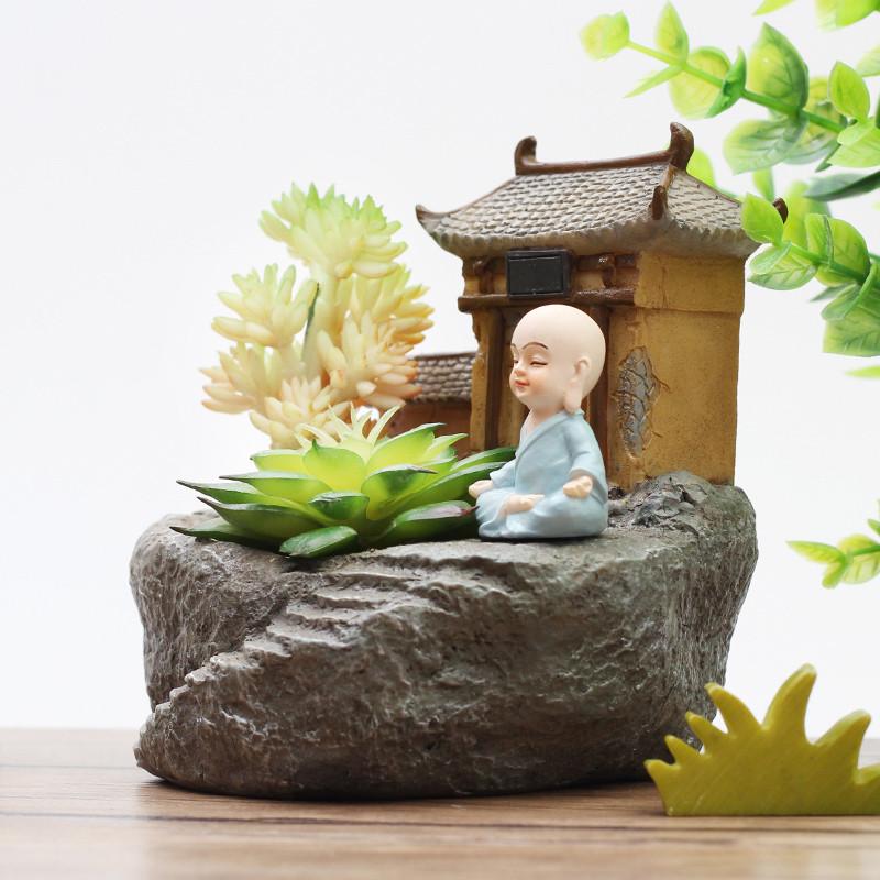 田园创意仿石卡通小和尚多肉植物花盆个性微景观禅意花器盆栽摆件