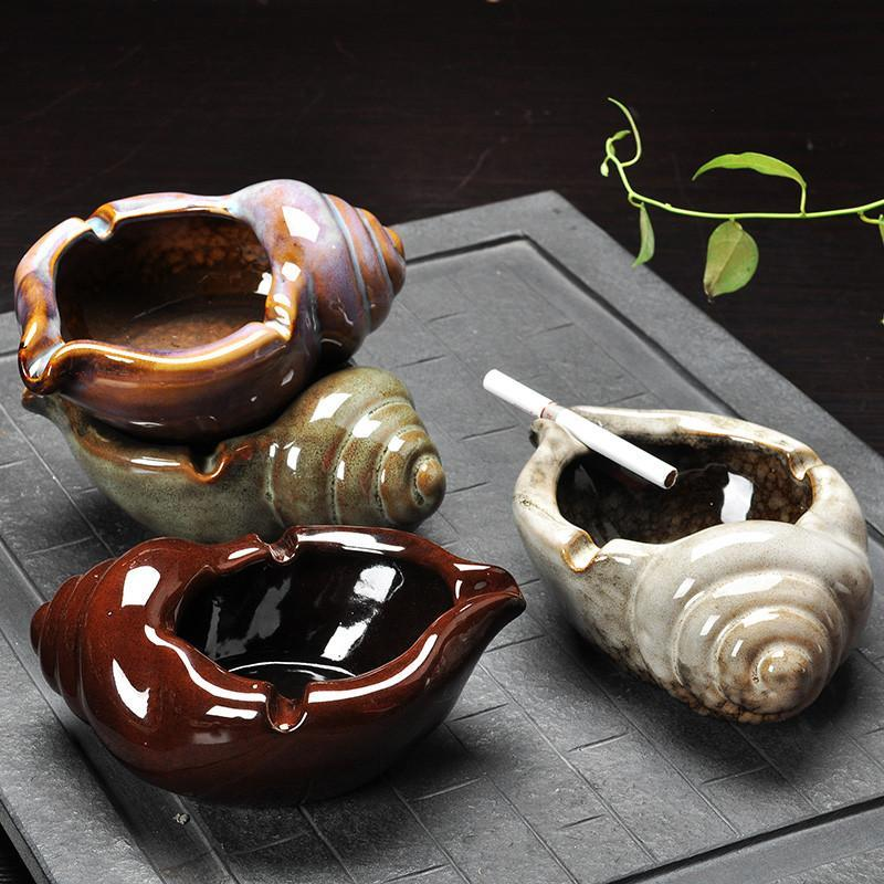 创意复古个性大号欧式防风烟灰缸 陶瓷烟灰缸-咖啡色青蛙烟灰缸