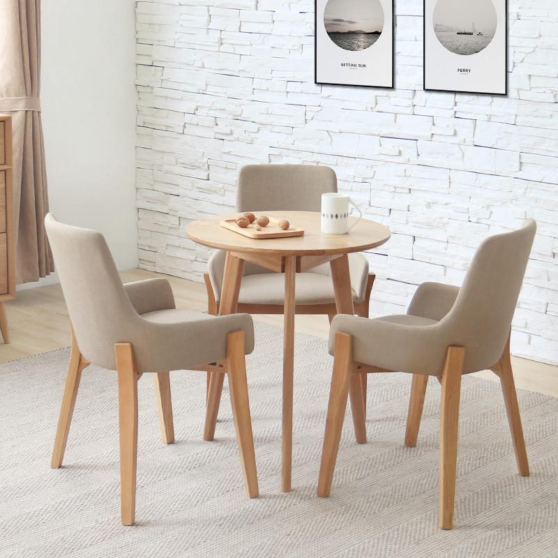 小圆桌子实木餐桌北欧休闲简约原木咖啡甜品店桌椅组合圆形洽谈桌