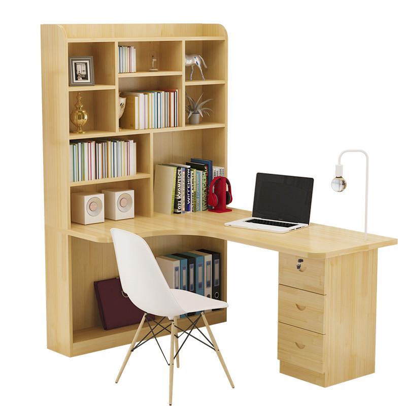實木書桌書架組合轉角臺式電腦桌臥室兒童學習桌寫字桌辦公桌家用