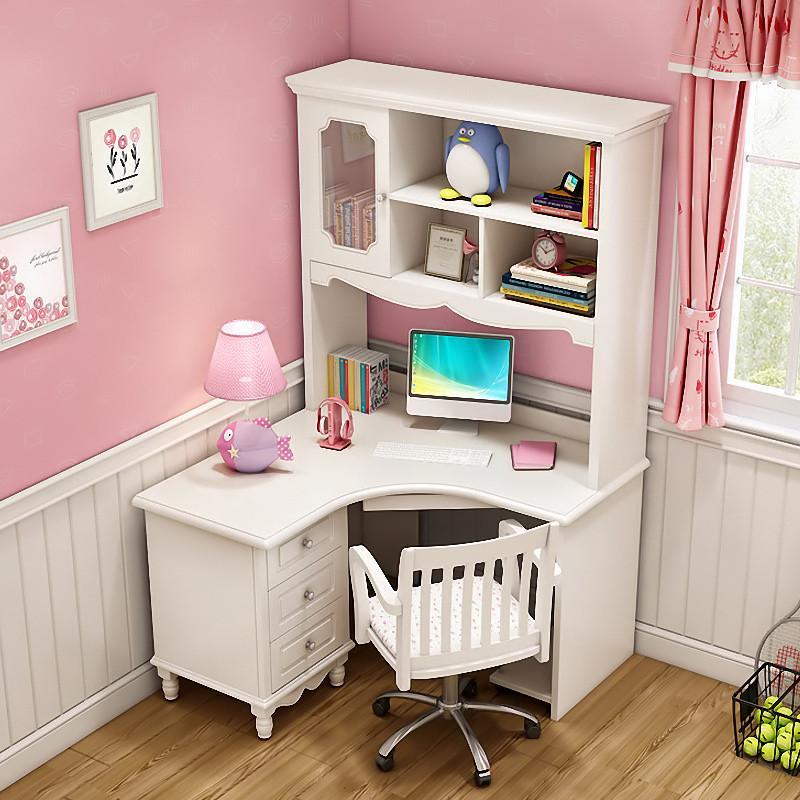轉角書桌書架組合實木拐角小戶型臥室兒童電腦桌家用書臺書柜一體
