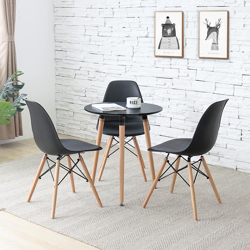 洽谈桌椅组合会客桌奶茶店简易小圆桌子现代简约白色桌咖啡餐桌椅