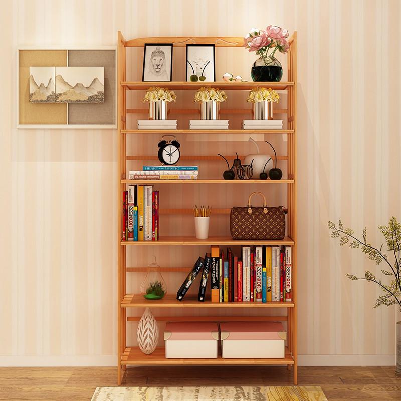 楠竹实木简易书架多层落地宿舍学生卧室书柜创意组合现代简约书橱