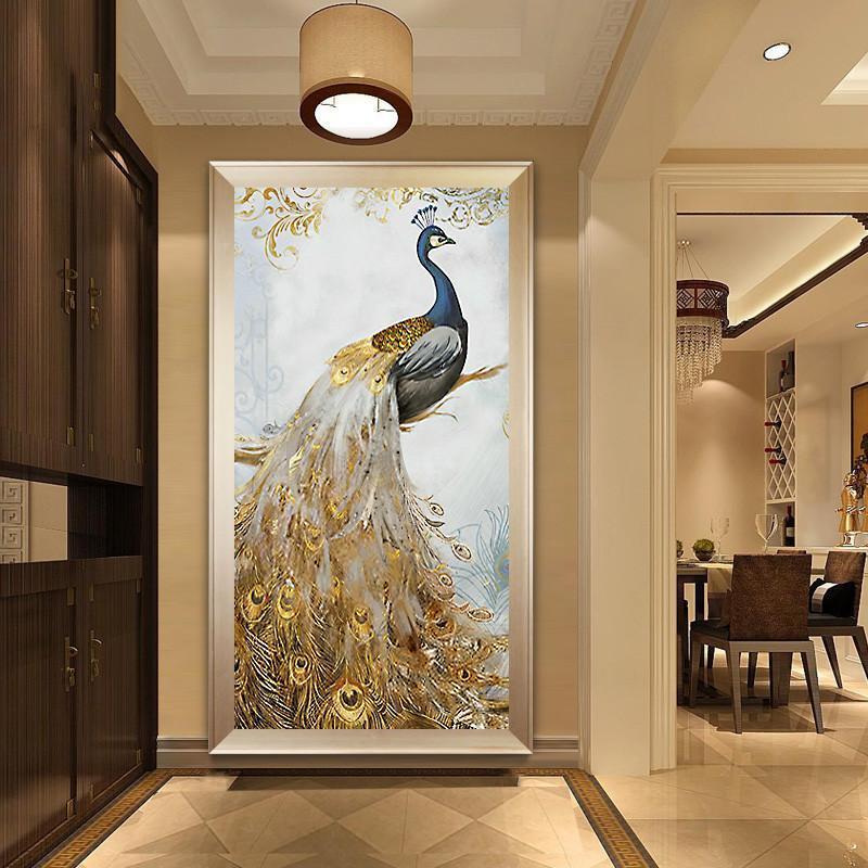 钻石画玄关走廊竖版欧式富贵孔雀贴钻十字绣客厅新款满钻砖石绣5d