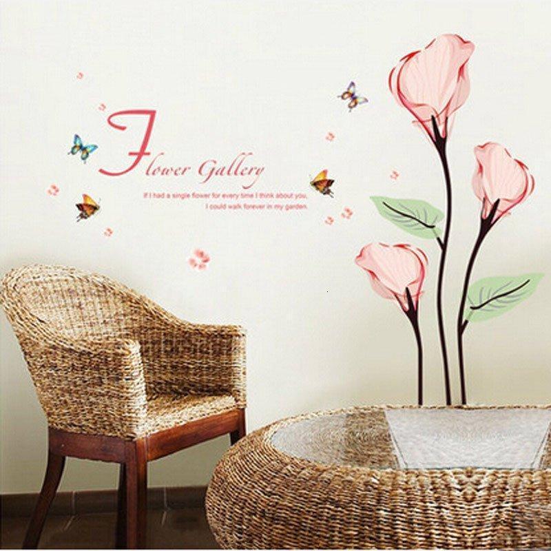 墙贴纸贴画 卧室浪漫温馨婚房床头 客厅电视背景墙壁贴花 粉色马蹄莲