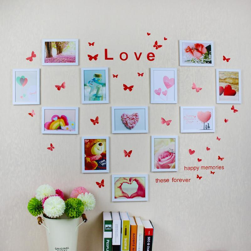 照片墙装饰创意心形相框墙7寸组合客厅卧室婚房挂墙式