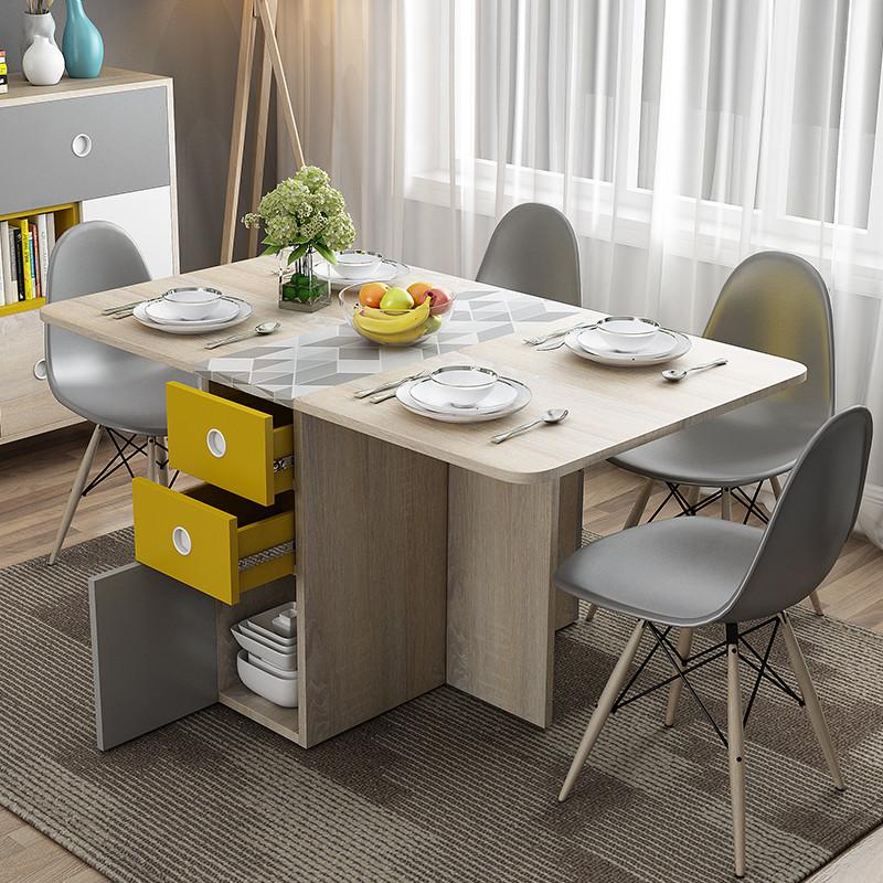 北欧简约多功能餐桌客厅小户型简易折叠饭桌长方形伸缩餐桌椅组合图片