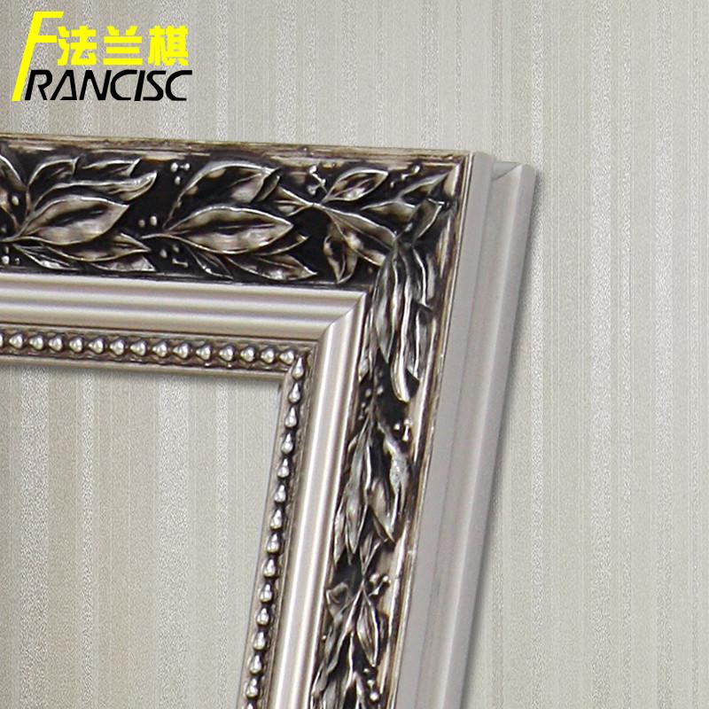 复古银色欧式浮雕花纹镜框壁挂置地式支架长方形试衣镜子穿衣镜子