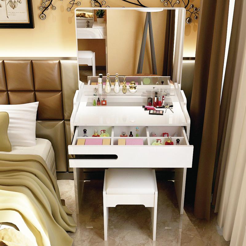 梳妝臺臥室 小戶型迷你 鋼琴烤漆 簡約現代妝臺小化妝