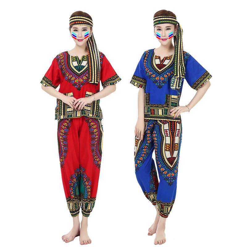 非洲鼓舞蹈演出服泰国东南亚风情印花表演服装民族风服饰