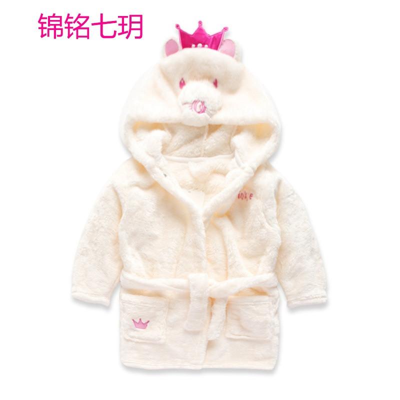 锦铭七玥卡通动物造型男童女童浴袍 宝宝睡衣 家居服睡衣