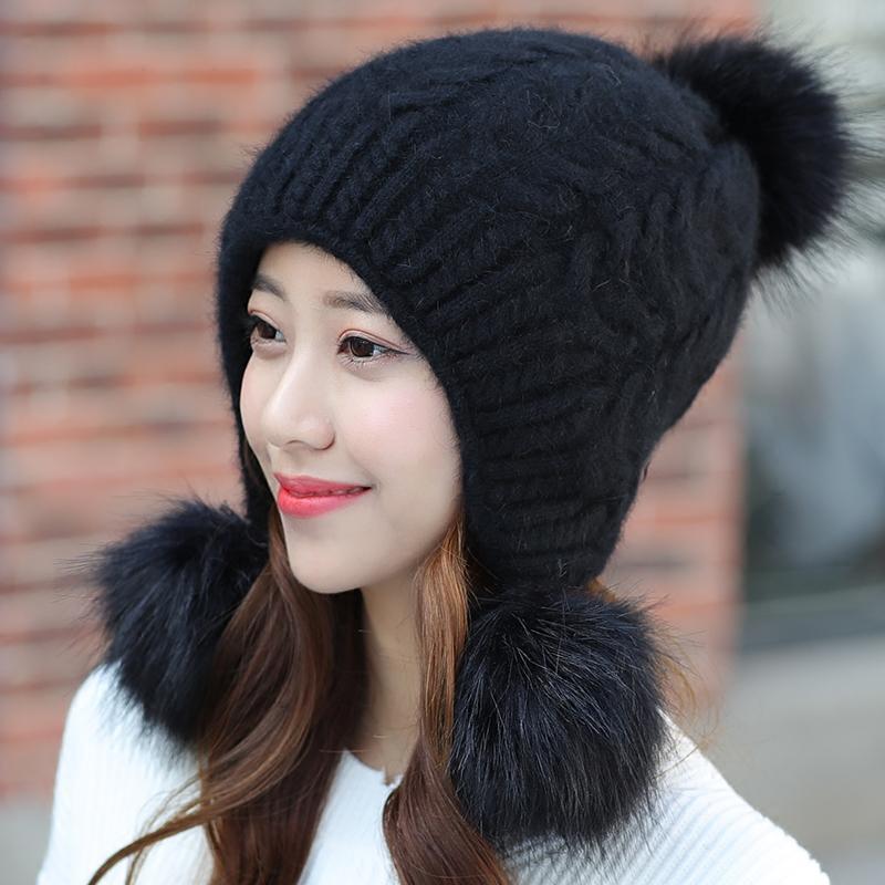 冬季帽子女冬天韩版潮时尚百搭女生针织帽秋冬兔毛毛线帽甜美可爱