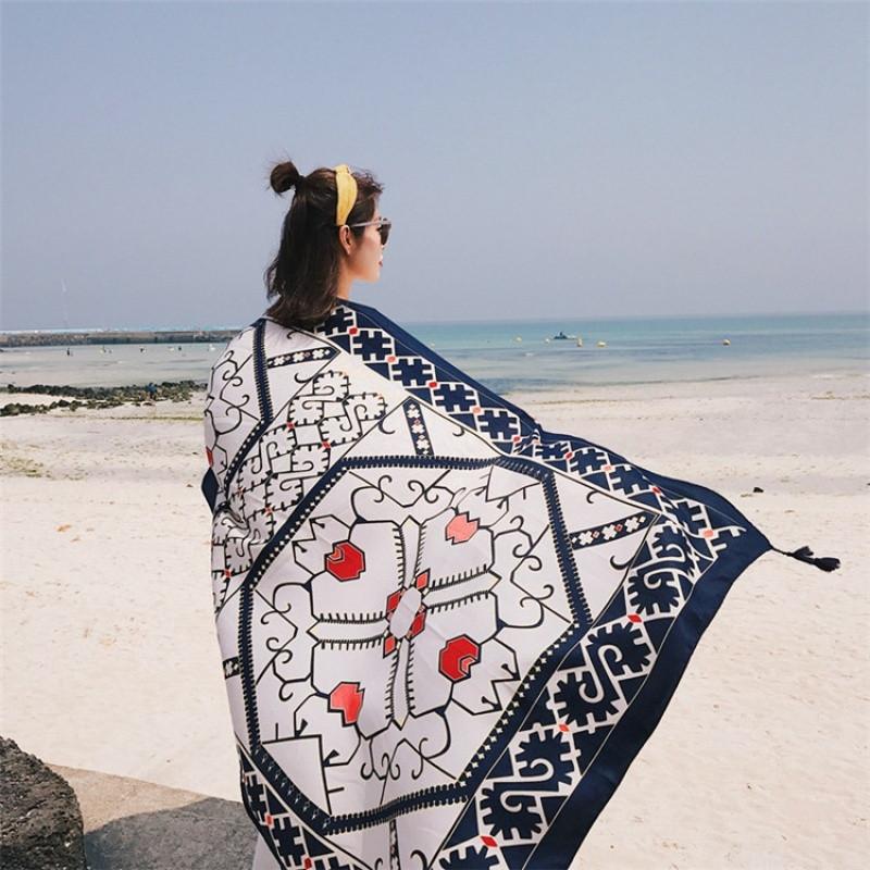 超大披肩女 海边旅游度假防晒披纱裹裙沙滩巾丝巾拍照