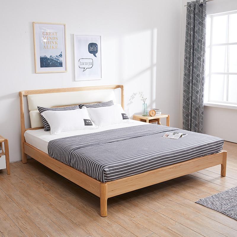 里伍北欧风格实木高箱床现代简约1.8米主卧双人床日式图片