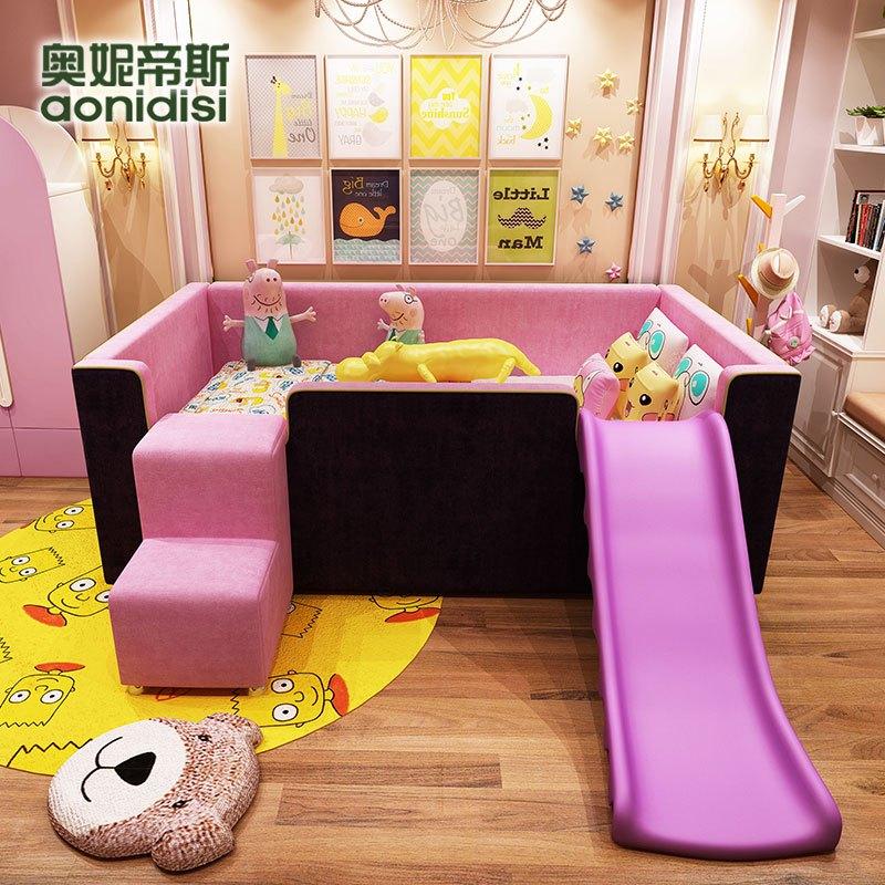 里伍公主风女孩滑梯儿童床 创意可爱男孩单人粉色小孩