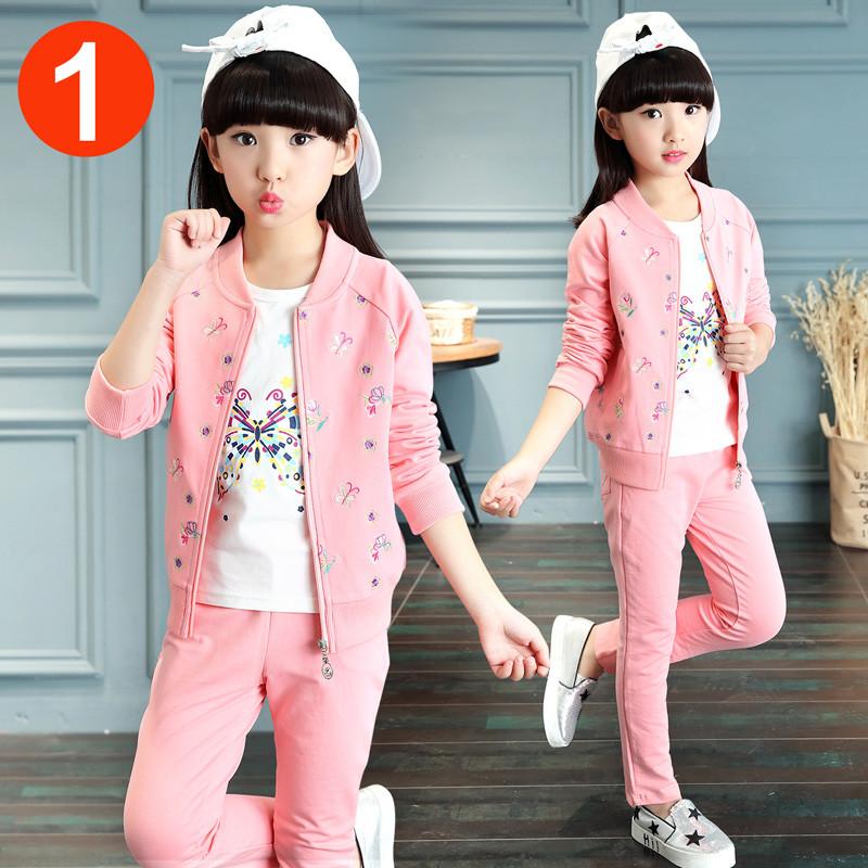 女童春装运动套装春秋装时髦洋气10岁儿童衣服小女孩15卫衣三件套