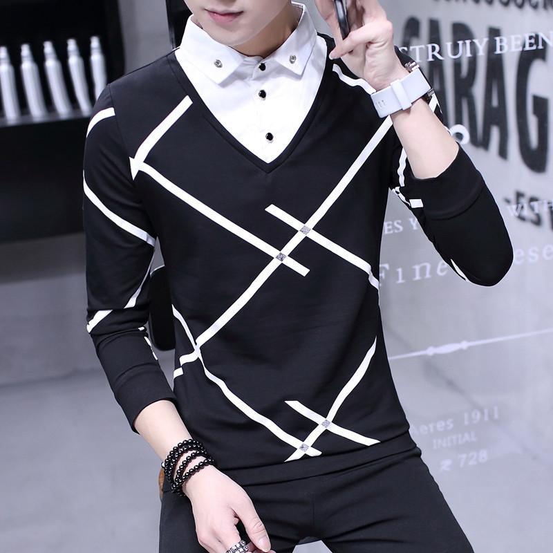 秋季衣服男士长袖t恤假两件上衣秋衣韩版潮学生体恤男装打底小衫