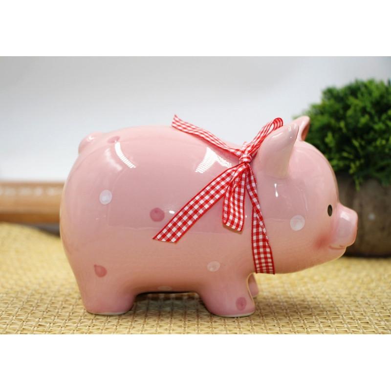 可爱小猪猪存钱罐陶瓷创意储蓄罐儿童礼物纯手工居家摆件