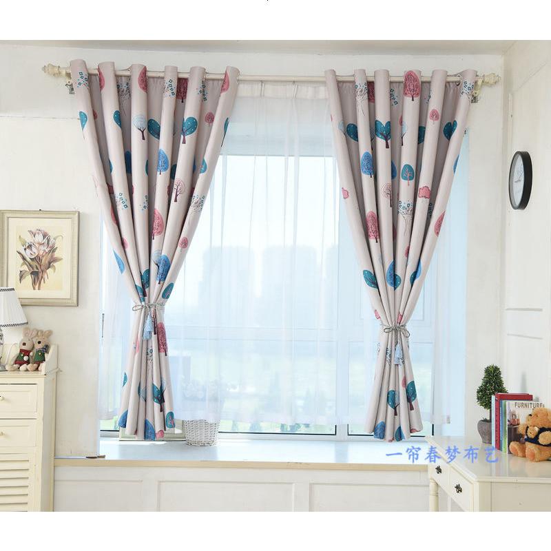 加厚遮陽黑絲遮光窗簾成品2米短簾飄窗半簾布臥室陽臺