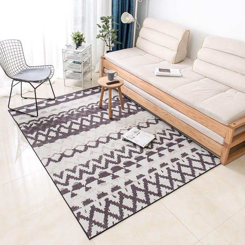 摩洛哥图案客厅地毯沙发茶几垫 北欧风清爽无毛卧室床边毯