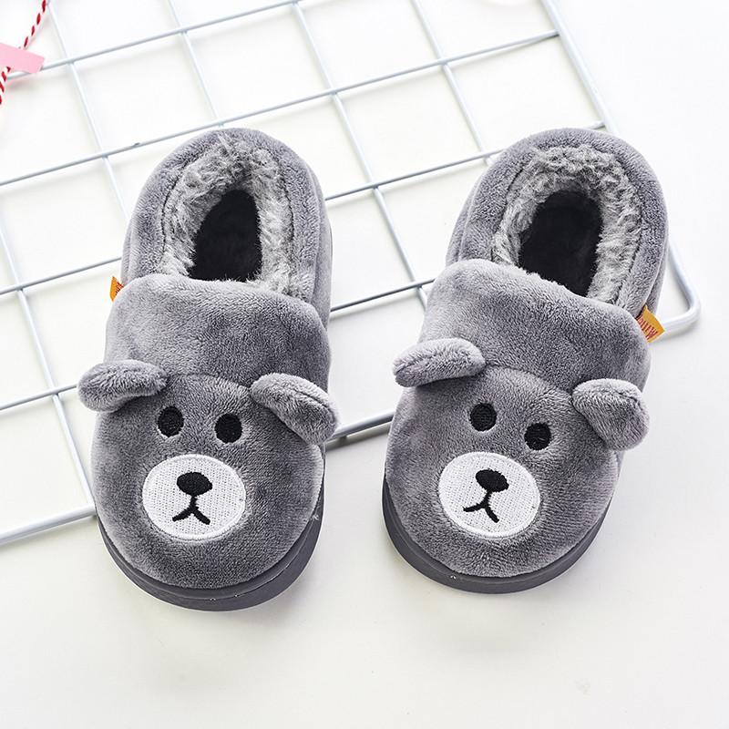 儿童拖鞋冬季可爱男宝宝包跟棉拖鞋小童厚底防滑女孩毛绒居家拖鞋