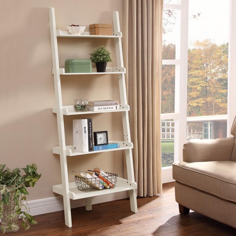 家具美式实木靠墙书架花盆架多层架阶梯式靠墙置物架架子图片