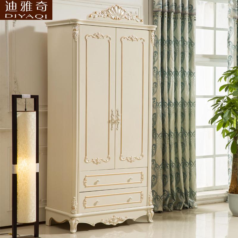 欧式衣柜实木白色2门两门3门卧室推拉门柜子小户型单门双门小衣柜