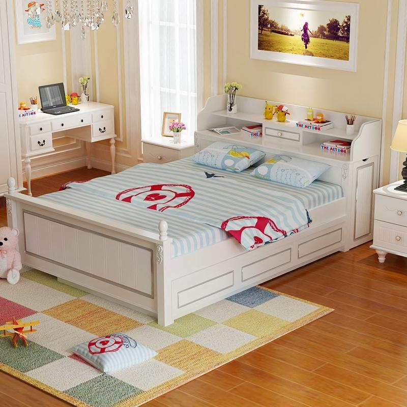 儿童床女孩公主韩式多功能男孩带拖床1.5米1.2伸缩子母储物实木床