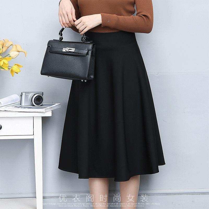 18款式时尚半身长裙a字裙黑色半身裙 中长款春秋打底百褶裙子显瘦冬裙图片