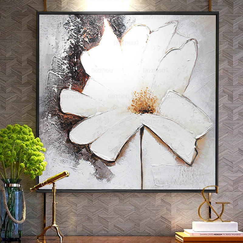 闽威现代抽象手绘油画花卉玄关装饰画客厅沙发背景墙挂画二联组合画