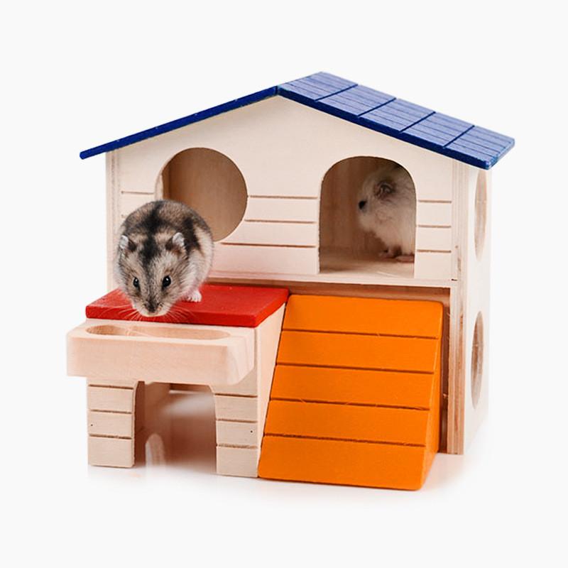 p仓鼠蜜袋鼯双层大木屋木质别墅仓鼠玩具保暖仓鼠用品