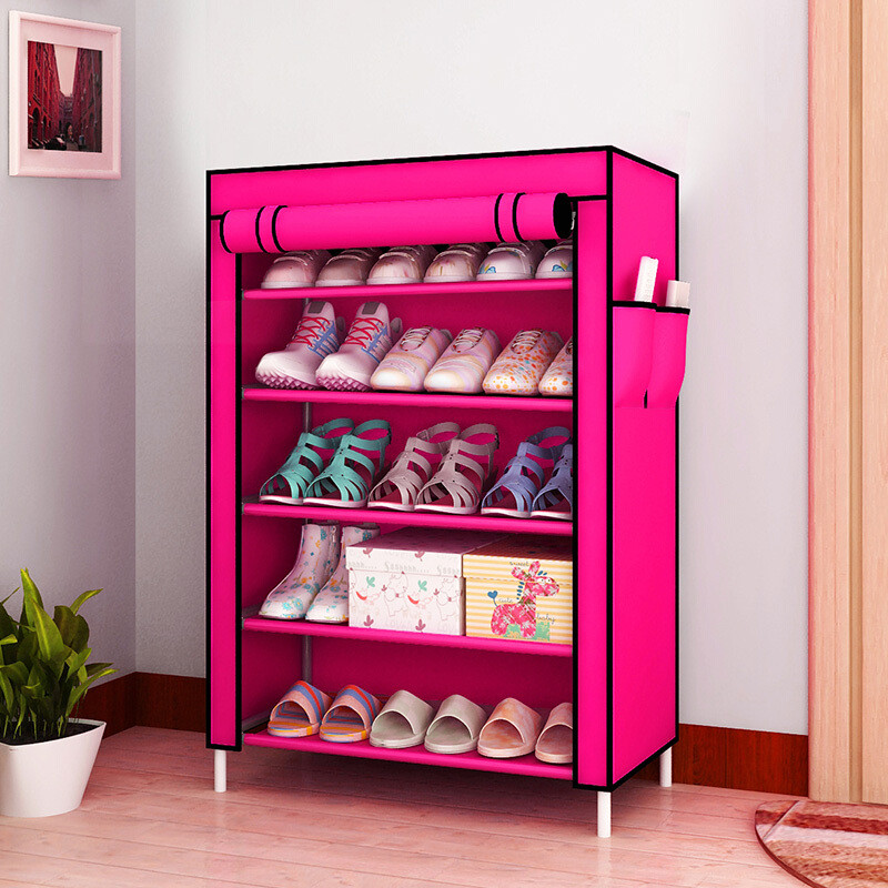 创意防尘鞋架时尚组合牛津布鞋柜收纳柜加厚多层简易鞋柜