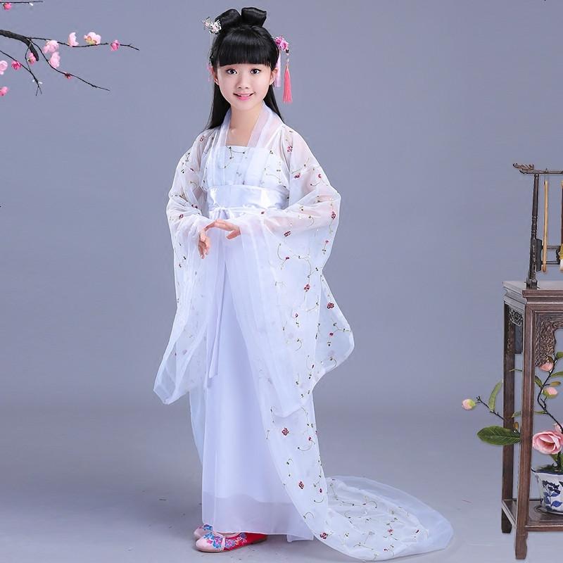 女童汉服六一演出服装 儿童中国风古装仙女公主拖尾贵妃表演服