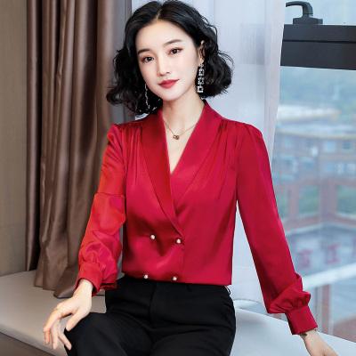 小样传奇 2020春季新款女装法式优雅长袖V领珍珠扣衬衫女缎面上衣