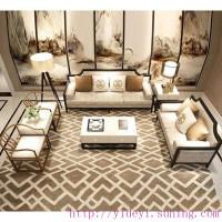 新中式沙组合现代中式客厅禅意实木沙会所样板房家具整装定制1 1 2 3图片