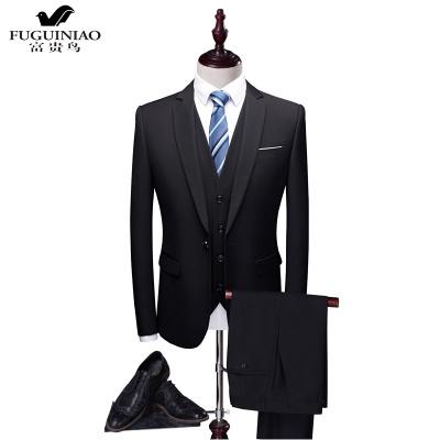 富贵鸟(FUGUINIAO)西服套装男士正装加肥加大码S-6XL胖子商务面试上班服西装三件套