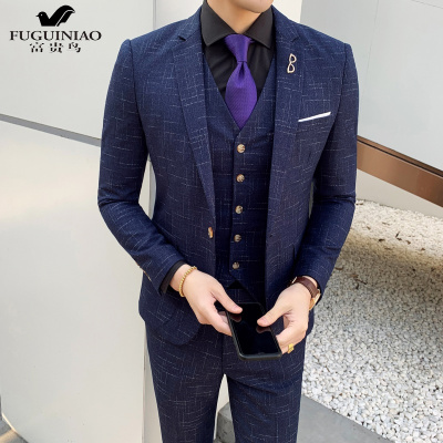 富贵鸟(FUGUINIAO)青年时尚韩版修身西服三件套宴会夜店潮男公子哥西装马甲裤子套装