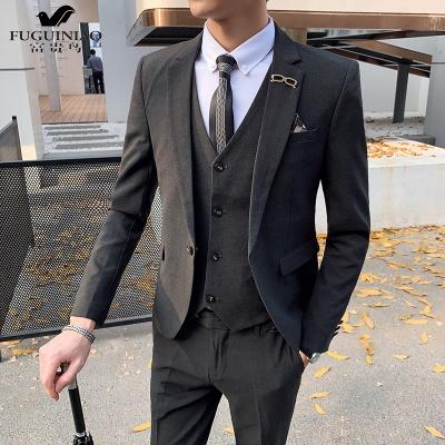 富贵鸟(FUGUINIAO)西服套装男士三件套青年韩版修身休闲新郎结婚礼服英伦风帅气西装