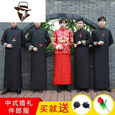 中式结婚礼服伴郎服唐装男中国风长衫长袍大褂相声兄弟团伴郎礼服