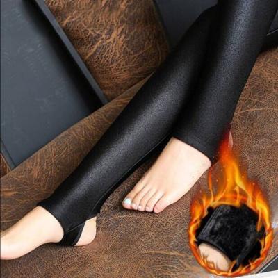 黛鬟秋冬季女士高腰光泽裤加绒加厚打底裤外穿保暖大码紧身小脚长裤子